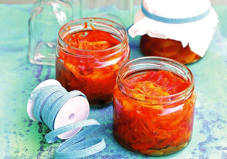 Лечо из сладких перцев с морковной поджаркой